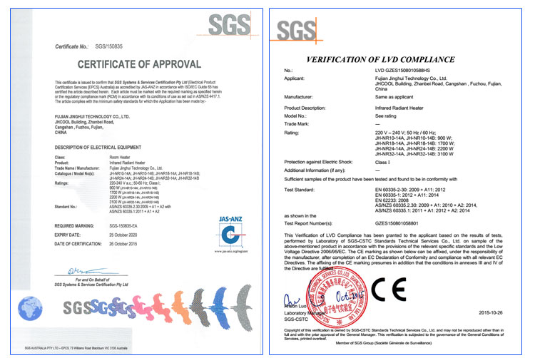 SGS certificate obtained by JH heater